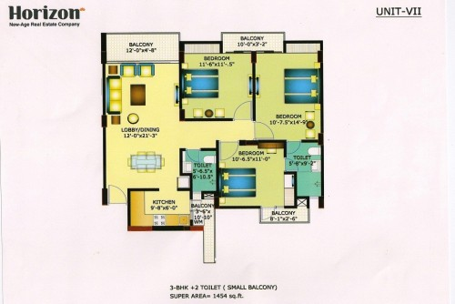3 Bedroom 1454 Sq Ft Apartment for Sale In Horizon Anant, Sector 11 Vrindavan Lucknow, Lucknow For Rs 44.35 Lakh | Property Image 2 Large