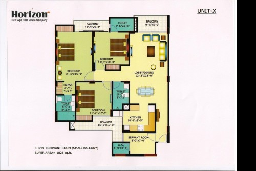 4 Bedroom 1825 Sq Ft Apartment for Sale In Horizon Anant, Sector 11 Vrindavan Lucknow, Lucknow For Rs 55.66 Lakh | Property Image 2 Large