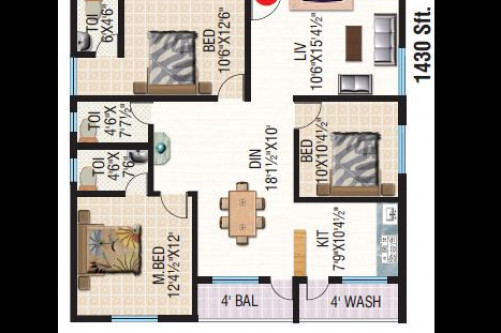 3 Bedroom 1430 Sq Ft Apartment for Sale In Apoorva Meadows, Yelahanka, Bangalore For Rs 55.06 Lakh | Property Image 6 Large